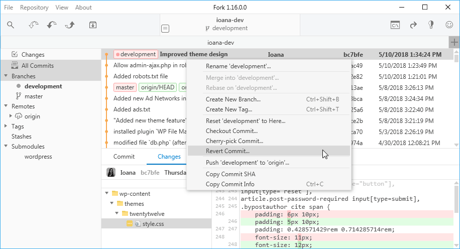 Git development with Fork on Windows | Presslabs Documentation